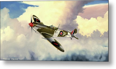 Military Metal Print featuring the painting Spitfire by Marc Stewart