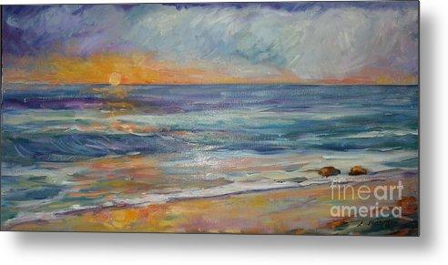 Sunset On The Beach Metal Print featuring the painting Sunset On The Beach by Lisa McKnett