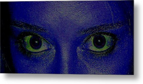 Blue Metal Print featuring the photograph The Eys Have It-abstract by Debbie May