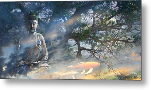Buddha Metal Print featuring the mixed media Universal Flow by Christopher Beikmann