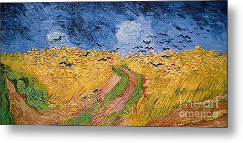 Landscape;post-impressionist; Summer; Wheat; Field; Birds; Threatening; Sky; Cloud; Post-impressionism Metal Print featuring the painting Wheatfield With Crows by Vincent van Gogh