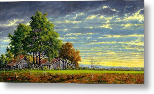 Landscape Metal Print featuring the painting Dusk by Jim Gola