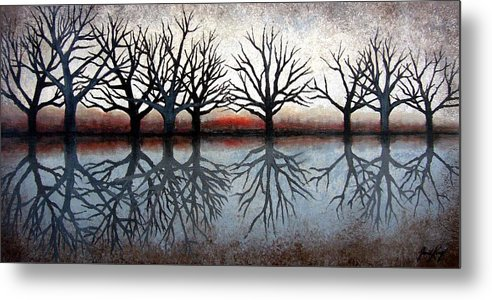 Tree Metal Print featuring the painting Reflecting Trees by Janet King