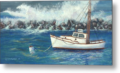 Ocean Metal Print featuring the painting Behind The Breakwall by Jerry McElroy