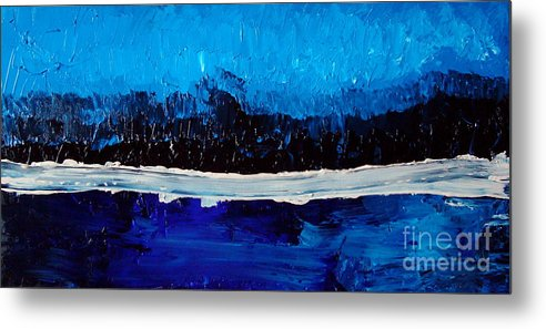 Blue Metal Print featuring the painting Blues by Holly Picano