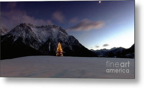 Weihnachten Metal Print featuring the photograph Christmas Tree In Front Of The Karwendel by Fabian Roessler