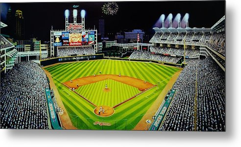 Cleveland Metal Print featuring the painting Cleveland Jackobs Nocturn Fireworks by Thomas Kolendra