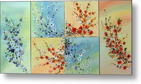 Flowers Metal Print featuring the painting Combo Flowers by Dorothy Maier