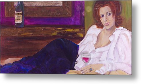 Woman Metal Print featuring the painting Come Hither by Debi Starr