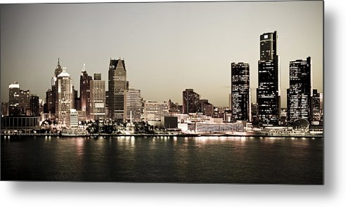 Detroit Metal Print featuring the photograph Detroit Skyline At Night by Levin Rodriguez