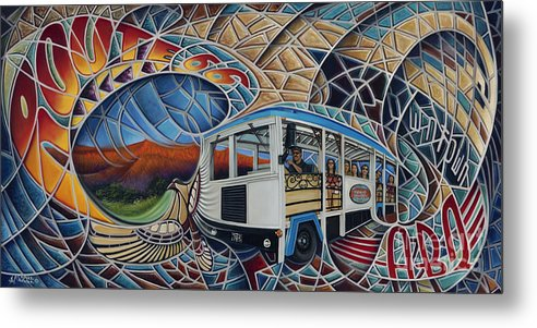 Mosiac Metal Print featuring the painting Dynamic Route 66 II by Ricardo Chavez-Mendez