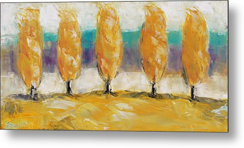 Landscape Metal Print featuring the painting Fall Trees by Becky Kim