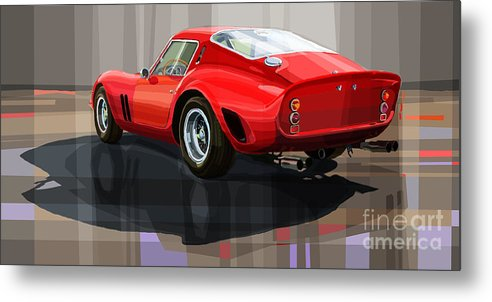 Automotive.digital Metal Print featuring the digital art Ferrari 250 Gto by Yuriy Shevchuk