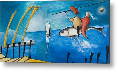 Hieronymus Bosch Metal Print featuring the painting Fish Egg by Vaan Manoukian