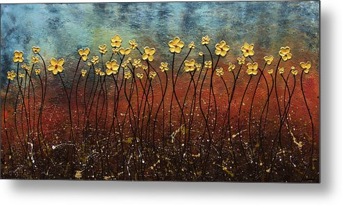 Abstract Art Metal Print featuring the painting Golden Flowers by Carmen Guedez