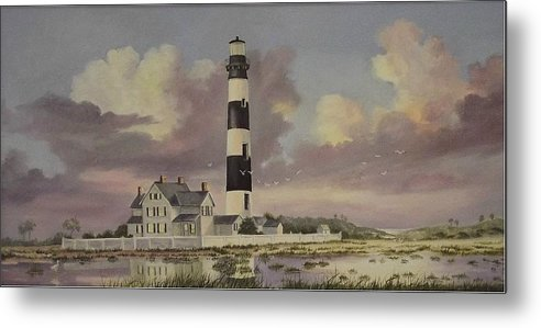 Lighthouse Metal Print featuring the painting History Of Morris Lighthouse by Wanda Dansereau