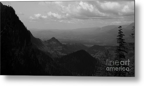 Mountains Metal Print featuring the pyrography In The Distance by Connor Hauenstein
