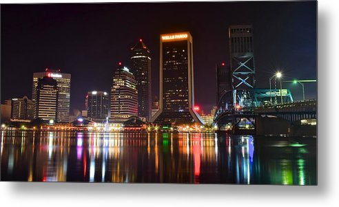 Jacksonville Metal Print featuring the photograph Jacksonville Night by Frozen in Time Fine Art Photography