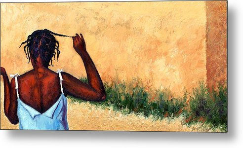 Haiti Painting Metal Print featuring the painting Lucie In Haiti by Janet King