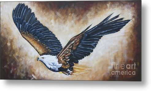Eagle Metal Print featuring the painting On Eagle's Wings by Ilse Kleyn