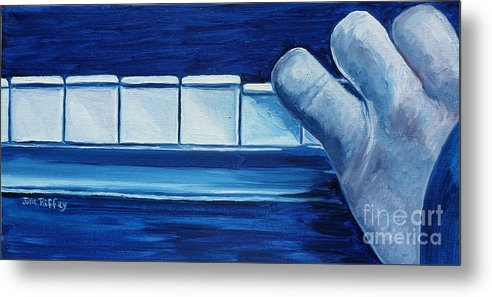Piano Metal Print featuring the painting Playing The Blues by Julie Brugh Riffey