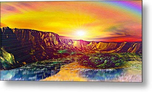 3d Metal Print featuring the digital art Rainbow Dawn Over Primeval Tide Life Begins V3 by Rebecca Phillips