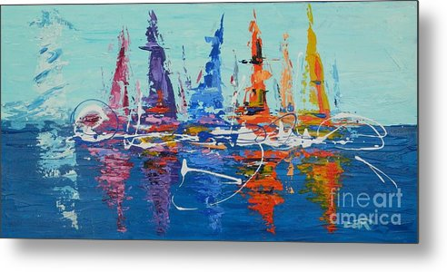 Lighthouse Metal Print featuring the painting Sailing By The Lighthouse by Dan Campbell