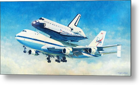 Space Metal Print featuring the painting Space Shuttle's Last Flight by Douglas Castleman