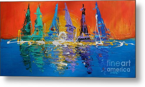 Sunrise Metal Print featuring the painting Sunrise Sail by Dan Campbell