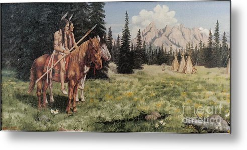 Landscape Metal Print featuring the painting The Tetons Early Tribes by Wanda Dansereau