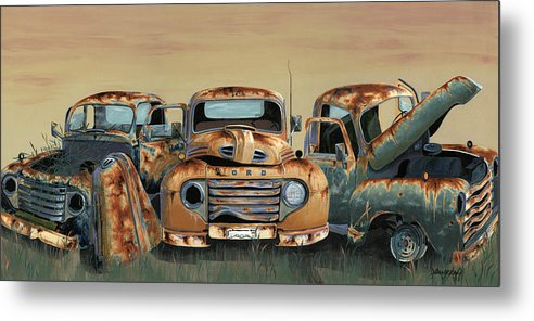 Truck Metal Print featuring the painting Three Amigos by John Wyckoff