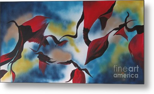 Red Metal Print featuring the painting Triphids In Red by Barbara Petersen