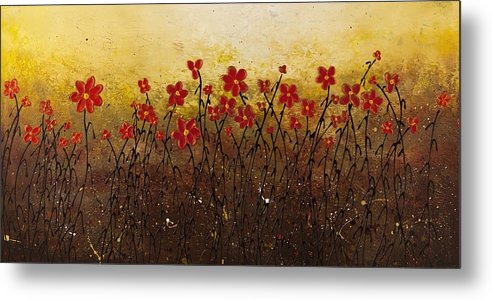 Abstract Art Metal Print featuring the painting Where Happiness Grows by Carmen Guedez