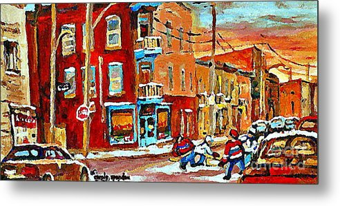 Montreal Metal Print featuring the painting Wilenskys Paintings Hockey Art Prints Originals Commissions Contact Popular Montreal Artist Cspandau by Carole Spandau