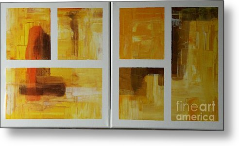 Diptych Metal Print featuring the painting Window With View Vi by Christiane Schulze Art And Photography