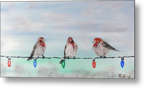 Birds Metal Print featuring the painting Birds On Christmas Lights by Robert Roy