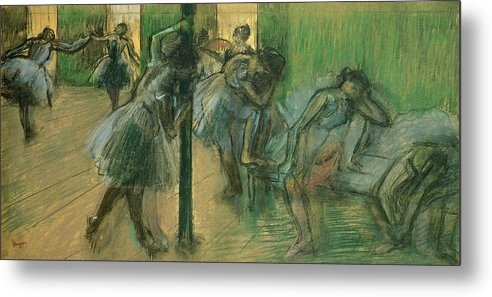 Dancers Rehearsing Metal Print featuring the painting Dancers Rehearsing by Edgar Degas