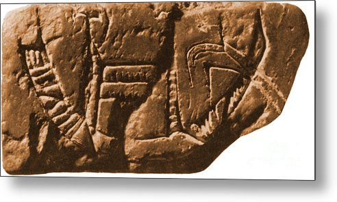 Historic Metal Print featuring the photograph Riverboat On Ancient Seal by Science Source