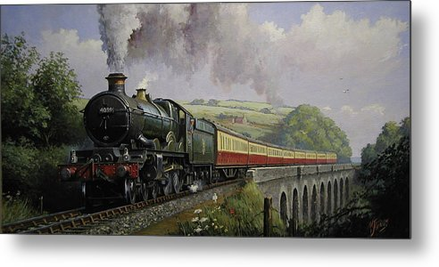 Railway Metal Print featuring the painting Castle On Broadsands Viaduct by Mike Jeffries