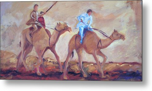 Figurative Metal Print featuring the painting A Day At The Camel Races by Ginger Concepcion