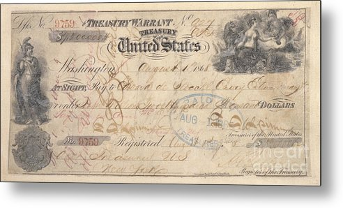 1867 Metal Print featuring the photograph Alaska Purchase: Check by Granger
