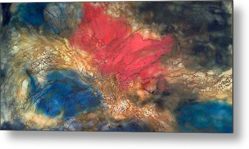 Abstract Metal Print featuring the painting Aquatic Play by Lorraine G Collins