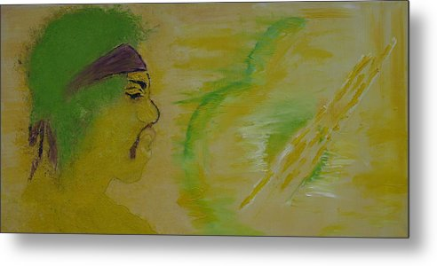 Jimi Hendrix Metal Print featuring the painting Between Two Worlds by Crina Iancau