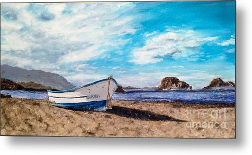 Beached Fishing Boat On A Quiet Island Morning. Metal Print featuring the painting Boat Ashore by Diane Donati