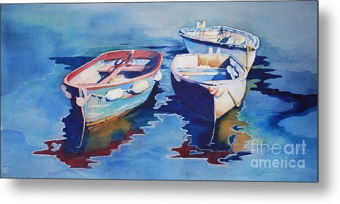 Water Metal Print featuring the painting Boats 2 by Anne McCartney