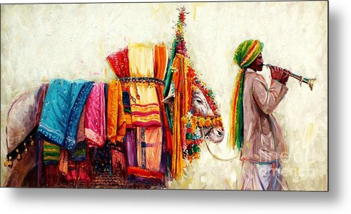South Indian Painting Metal Print featuring the painting Boom Boom Cow by Sivabalan