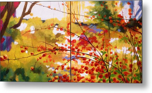 Landscape Metal Print featuring the painting Chinese Garden Grace by Melody Cleary