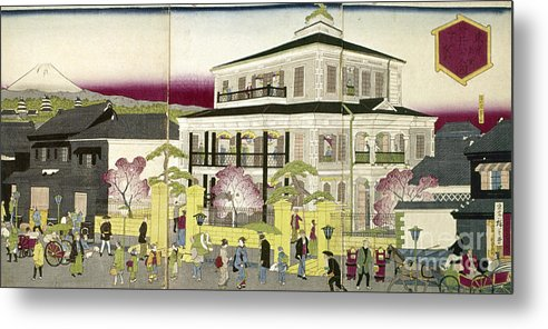 1873 Metal Print featuring the photograph Edo: Bank, C1873 by Granger