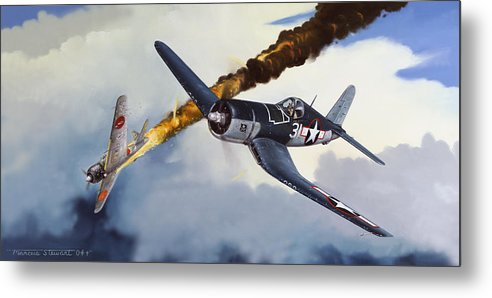 Military Metal Print featuring the painting First Kill For The Jolly Rogers by Marc Stewart