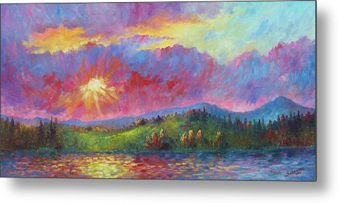 Landscape Metal Print featuring the painting Front Range Sunset by David G Paul
